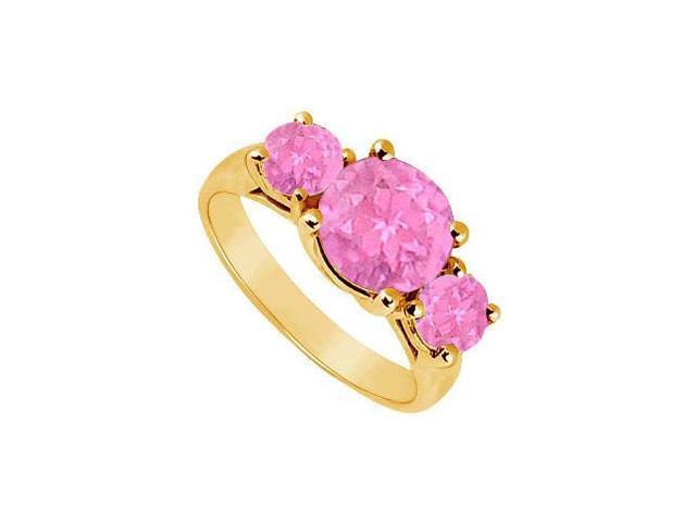 Three Stone Pink Sapphire Ring  14K Yellow Gold - 3.00 CT TGW
