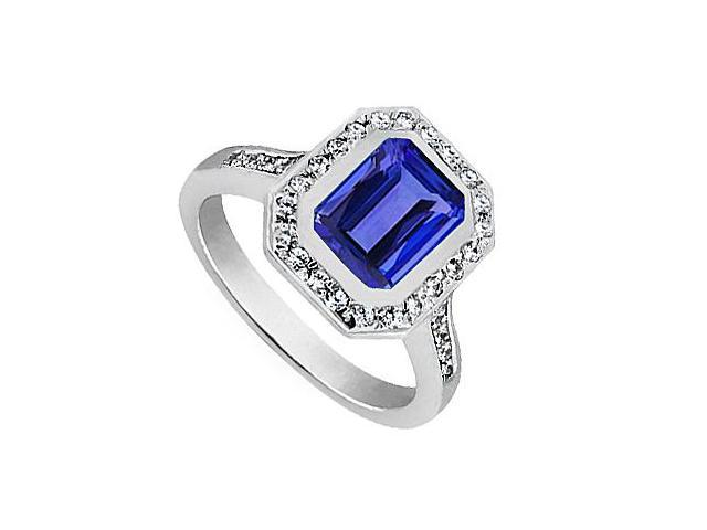 Blue Sapphire Emerald Cut Ring with CZ in 14K White Gold 3.50 Carat Total Gem Weight