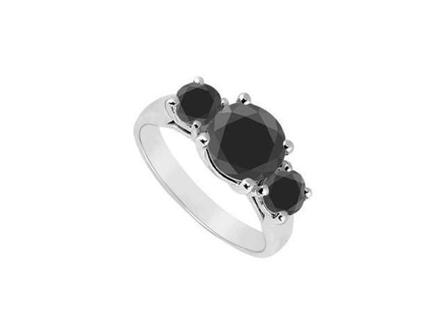 14K White Gold  Round Prong Set Black Diamond Three Stone Ring  2.00 CT TDW