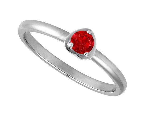 Round One Carat Reconstituted Ruby in 14K White Gold Heart Fashion Ring
