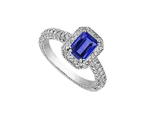 3 Carat Cubic Zirconia and Simulated Blue Sapphire in 14K White Gold Fashion Ring