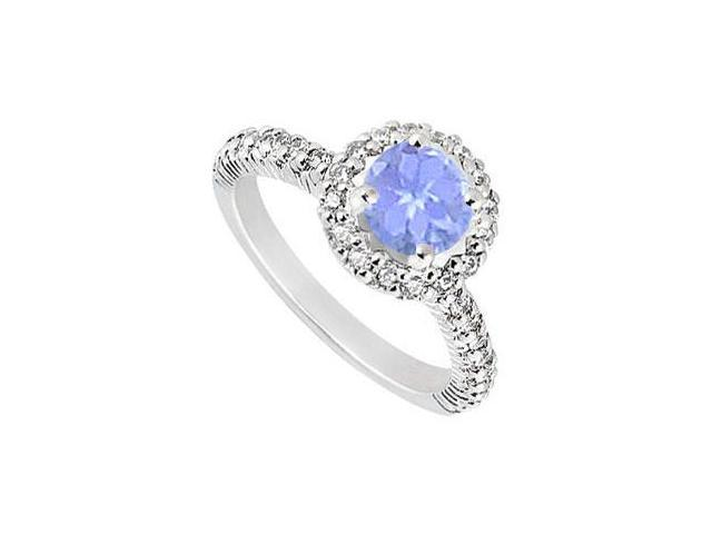 10K White Gold Created Tanzanite and Cubic Zirconia Engagement Ring 1.25 CT TGW