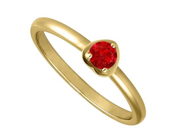 Round One Carat Simulated Ruby in 14K Yellow Gold Heart Fashion Ring