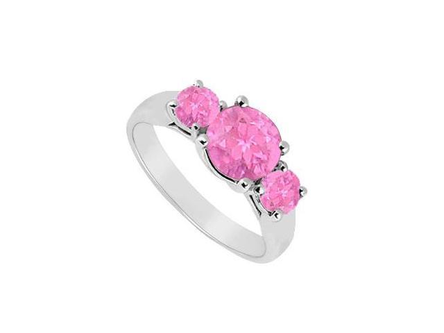 Three Stone Pink Sapphire Ring  14K White Gold - 1.00 CT TGW