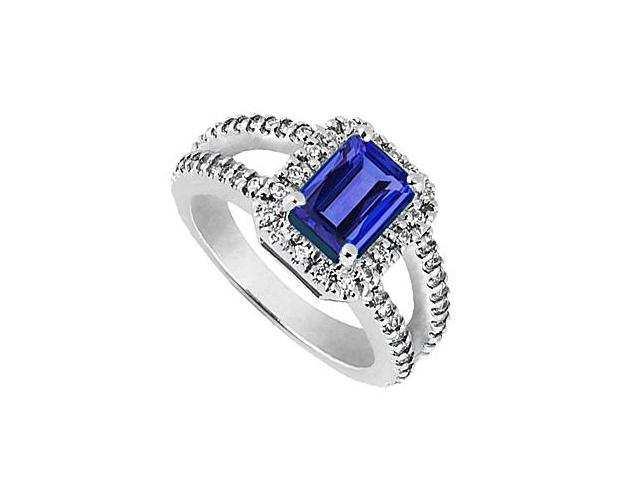 Fashion Ring Emerald Cut Blue Sapphire and CZ Ring in 14K White Gold 2.75 Carat TGW