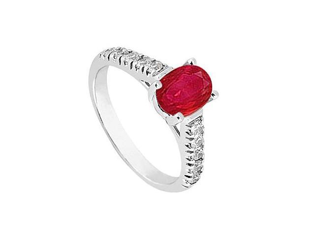 Fashion Ring of Oval Simulated Ruby and Triple AAA Quality CZ in 14K White Gold 1 Carat Totalin
