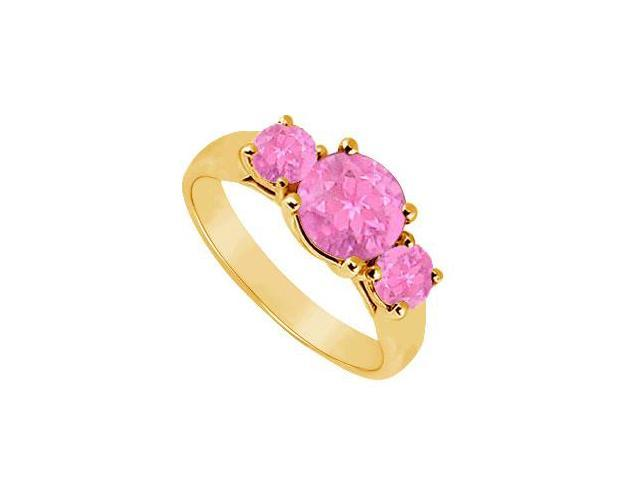 Three Stone Pink Sapphire Ring  14K Yellow Gold - 1.00 CT TGW