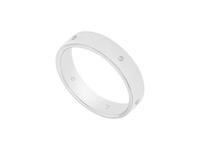 4MM Comfort Fit Flat Wedding Band with Diamonds  14K White Gold - 0.05 CT TDW