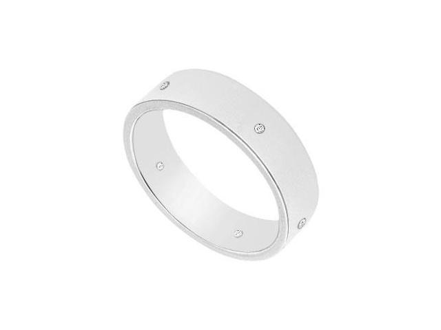 5MM Comfort Fit Flat Wedding Band with Diamonds  14K White Gold - 0.05 CT TDW