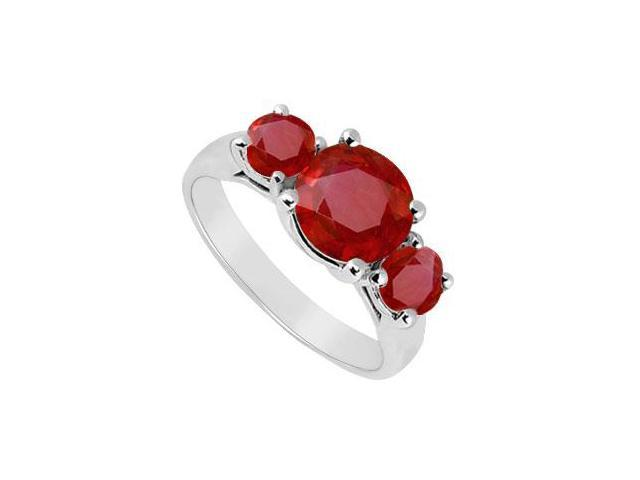 Three Stone Ruby Ring  14K White Gold - 2.00 CT TGW