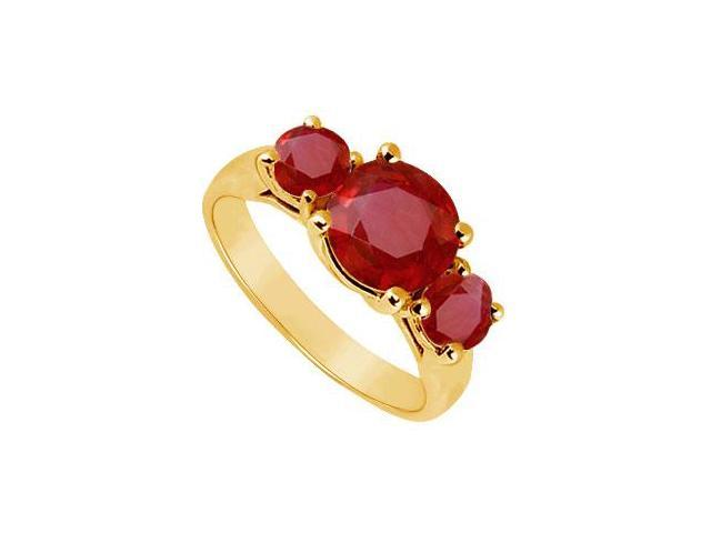 Three Stone Ruby Ring  14K Yellow Gold - 2.00 CT TGW