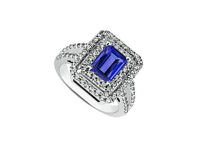 Simulated Blue Sapphire Emerald Cut and CZ Ring in 14K White Gold Total Gem Weight of 2.80 Carat