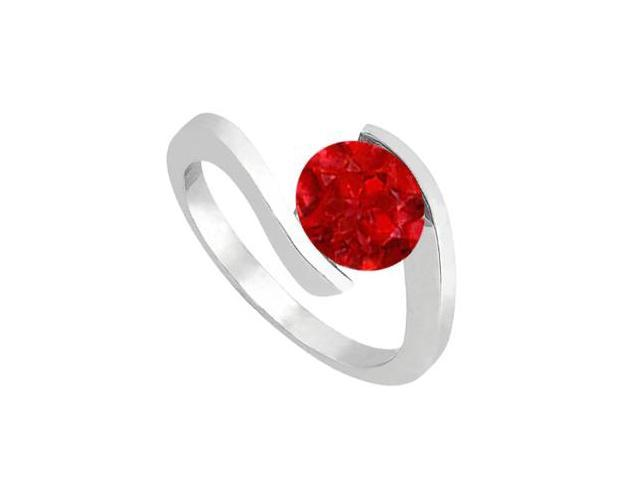 Natural Ruby Solitaire Ring in 14K White Gold One Carat Total Gem Weight