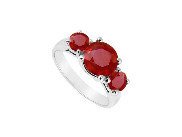 Three Stone Ruby Ring  14K White Gold - 2.50 CT TGW