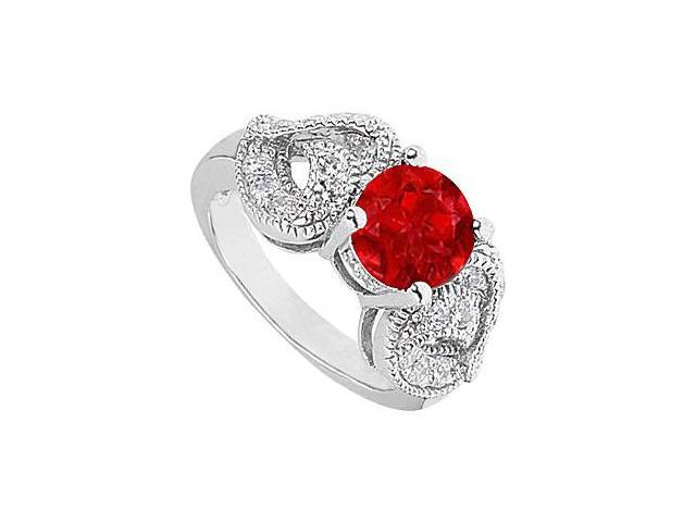 2 Carat Simulated Ruby with Side CZ Heart Shape Ring in 14K White Gold 2.50 Carat Totaling
