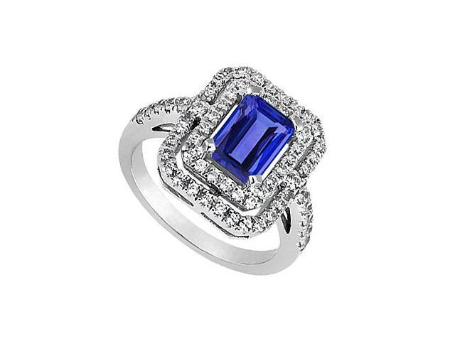 Blue Sapphire Fashion Ring with Cubic Zirconia in 14K White Gold 2.75 Carat Total Gem Weight