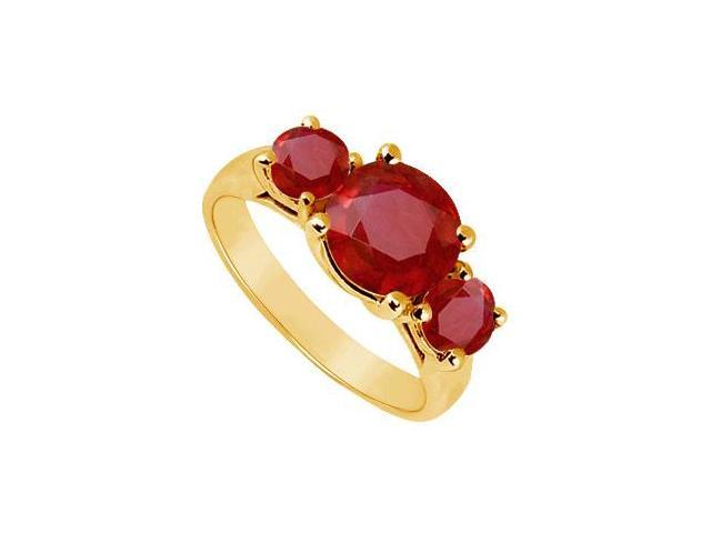 Three Stone Ruby Ring  14K Yellow Gold - 2.50 CT TGW