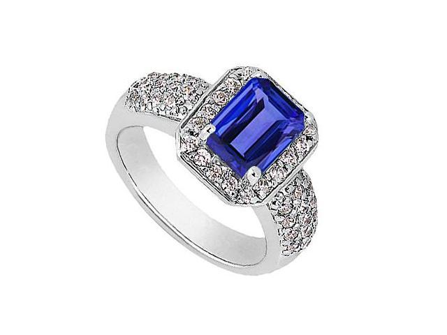 CZ and Emerald Cut Simulated Blue Sapphire Ring in 14K White Gold 3.75 Carat Total Gem Weight