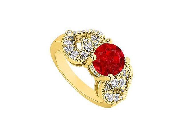 2 Carat Simulated Ruby with Side CZ Heart Shape Ring in 14K Yellow Gold 2.50 Carat Totaling