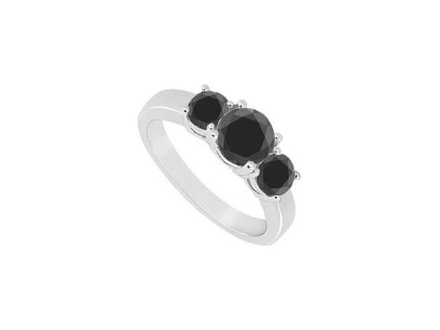 14K White Gold  Round Prong Set Black Diamond Three Stone Ring  0.50 CT TDW