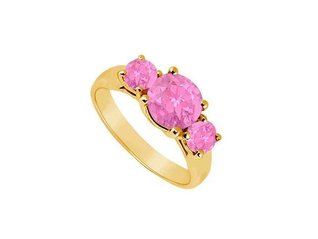 Three Stone Pink Sapphire Ring  14K Yellow Gold - 1.25 CT TGW