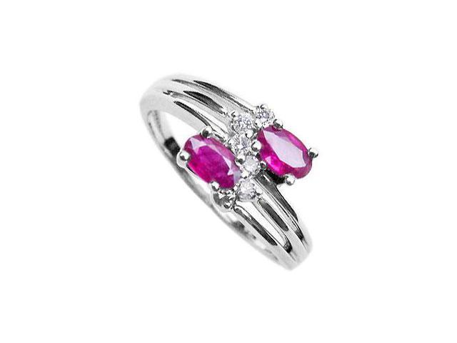 Ruby and Diamond Ring  14K White Gold - 2.00 CT TGW