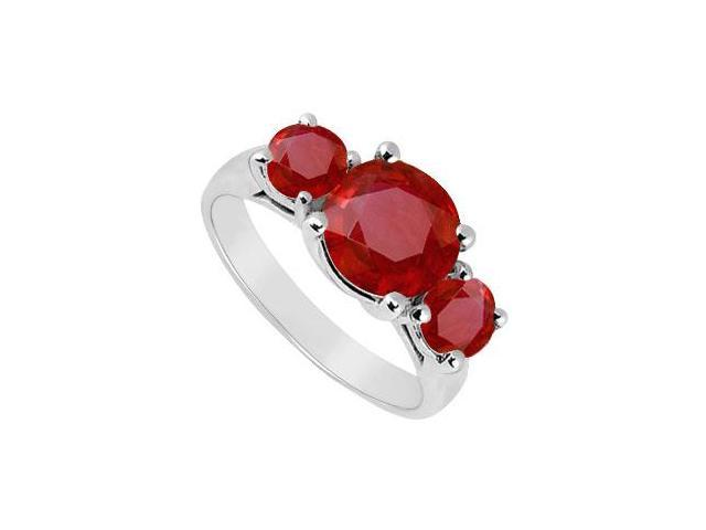 Three Stone Ruby Ring  14K White Gold - 3.00 CT TGW