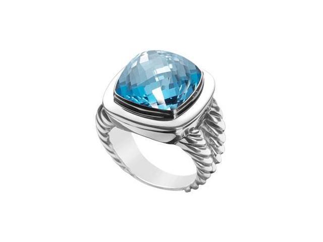 Blue Topaz Rope Ring  14K White Gold - 10.00 CT TGW