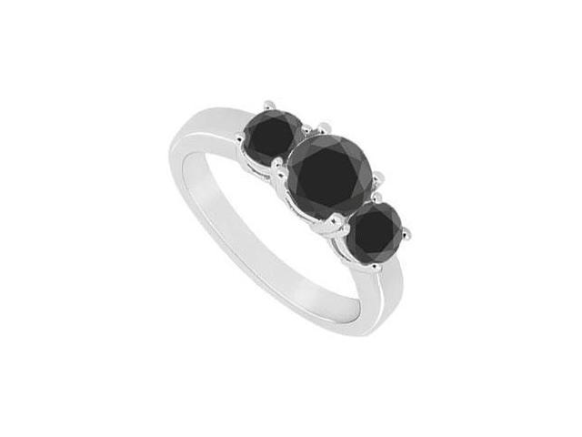 14K White Gold  Round Prong Set Black Diamond Three Stone Ring  1.50 CT TDW