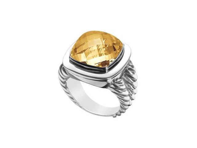 Citrine Rope Ring  14K White Gold - 10.00 CT TGW