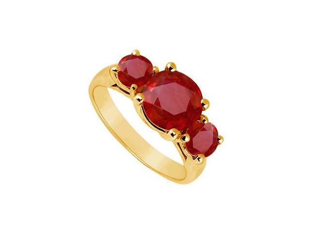 Three Stone Ruby Ring  14K Yellow Gold - 3.00 CT TGW