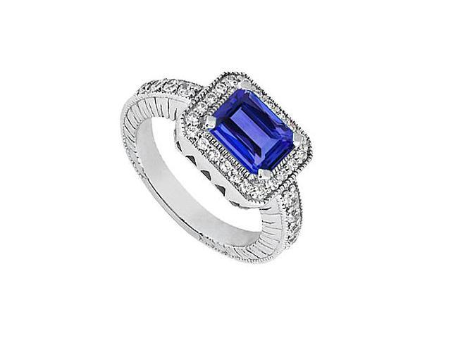 Created Sapphire Emerald Cut Ring with Cubic Zirconia in 14K White Gold 1.60 Carat TGW