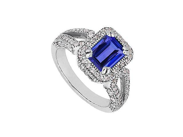 White Gold 14K Emerald Cut Blue Sapphire and Cubic Zirconia 2.60 Carat Total Gem Weight