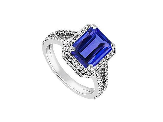 Emerald Cut Simulated Blue Sapphire Ring in 14K White Gold with CZ 2.65 Carat TGW