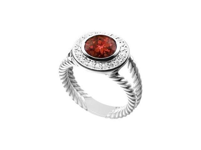 Garnet and Diamond Rope Ring  14K White Gold - 10.25 CT TGW