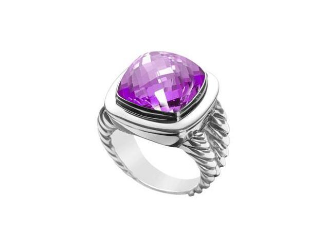 Amethyst Rope Ring  14K White Gold - 10.00 CT TGW