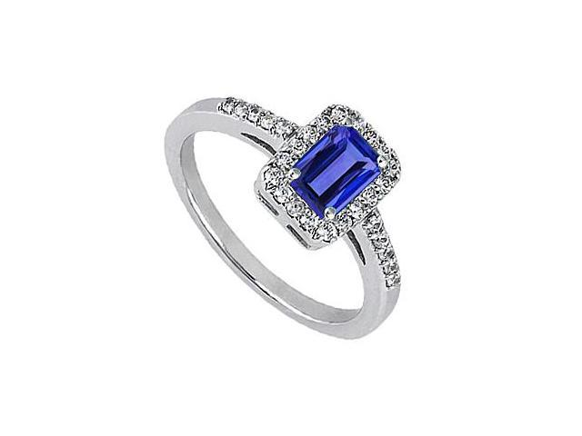 CZ and Simulated Blue Sapphire Emerald cut Ring in White Gold 14K 1.30 Carat Total Gem Weight