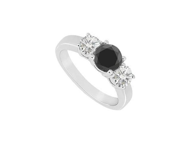 14K White Gold  Round Prong Set Black and White Diamond Three Stone Ring  1.00 CT TDW