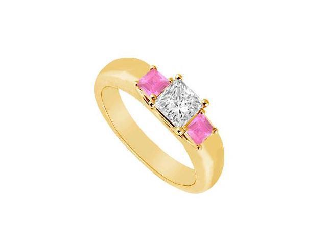 Three Stone Diamond and Pink Sapphire Ring  14K Yellow Gold - 0.25 CT TGW