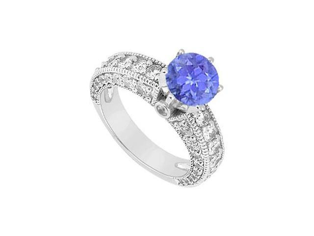 10K White Gold Created Tanzanite and Cubic Zirconia Engagement Ring 2.00 CT TGW