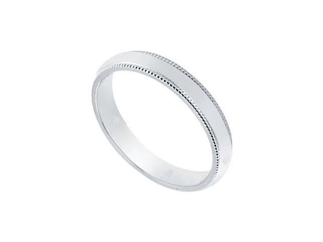 Platinum 3MM Non-Comfort Fit Milgrain Wedding Band