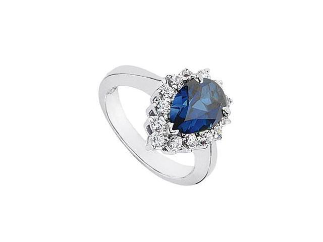 Blue Sapphire Simulated Pear Shape with CZ Rings in 10K White Gold 1.25 Carat Total Gem