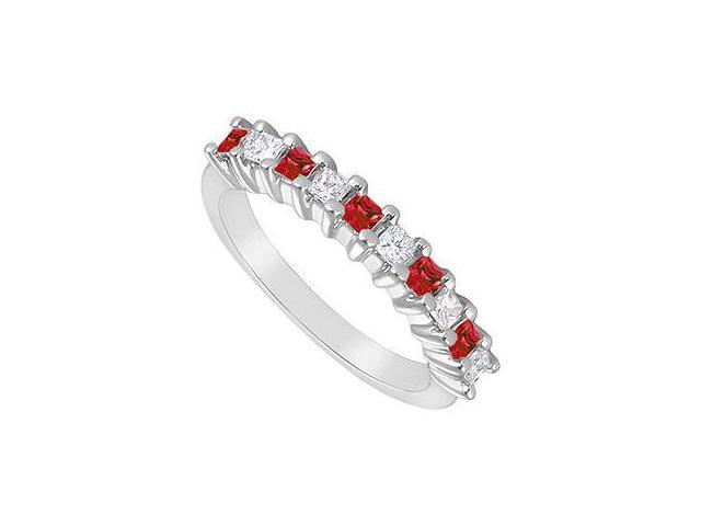 Ruby and Diamond Ring  14K White Gold - 0.50 CT TGW