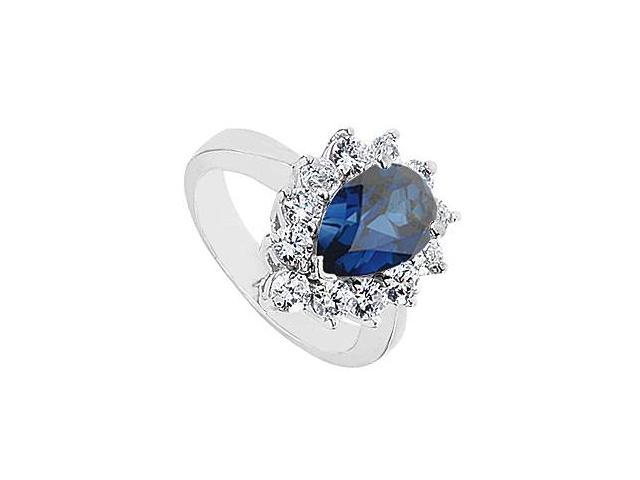 10K White Gold Pear Shape Created Sapphire Ring with CZ Total Gem Weight 3.95 Carat
