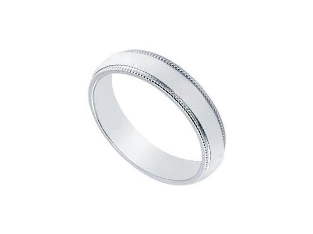 Platinum 4MM Non-Comfort Fit Milgrain Wedding Band