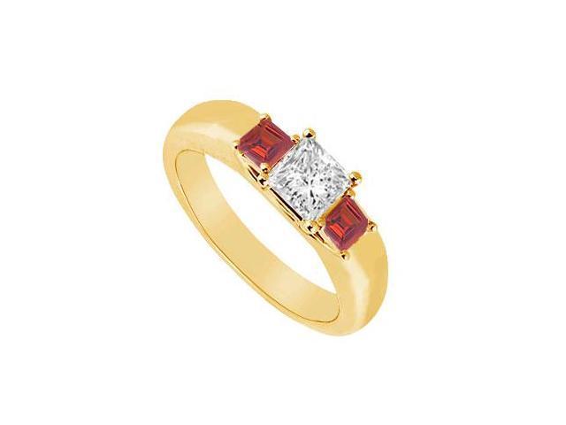 Three Stone Diamond and Ruby Ring  14K Yellow Gold - 0.25 CT TGW