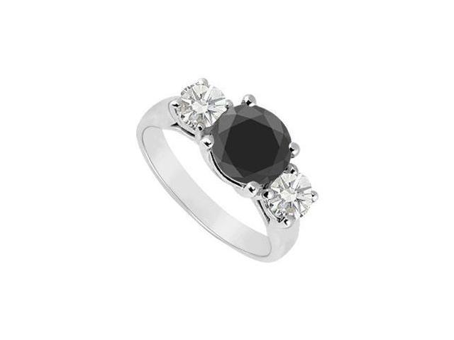 14K White Gold  Round Prong Set Black and White Diamond Three Stone Ring  2.00 CT TDW