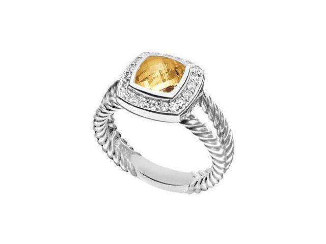 Citrine and Diamond Rope Ring  14K White Gold - 5.50 CT TGW