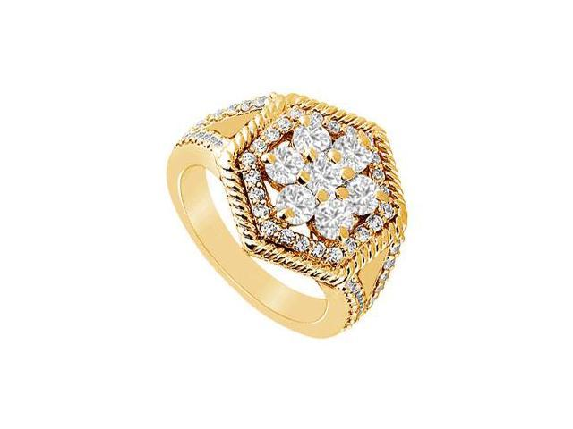 Diamond Flower Ring  14K Yellow Gold - 0.75 CT Diamonds