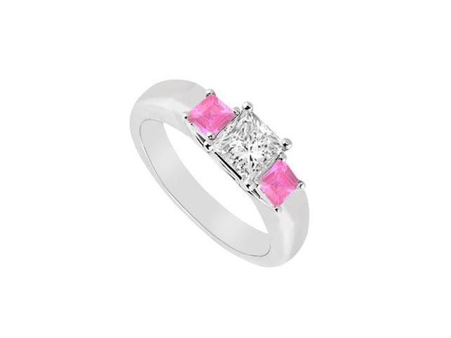 Three Stone Diamond and Pink Sapphire Ring  14K White Gold - 0.33 CT TGW